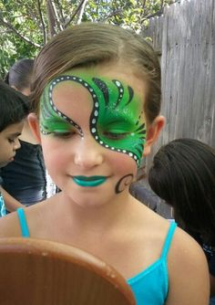 idea, face paintings, body paintings, green, swirl