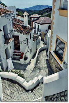 Zigzag steps in Sedella, Andalucia, Spain