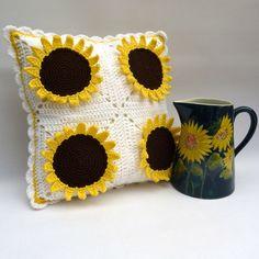Sunflowers crochet cushion