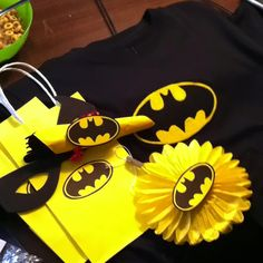 The Batman Party things for my sons Lego superheros 10th birthday  Loot sacks Hanging puff decorations Plain T-shirt with felt Logo handmade and heat transferred on There are superman, greenlantern spiderman and flash and captain America to post up.... Too be continued!