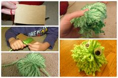Need a quick yarn craft for the kids?  Try these yarn creatures!  Let the kids design their own yarn monsters!