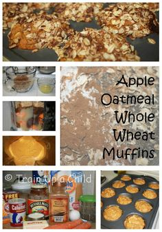Healthy apple oatmeal whole wheat muffins