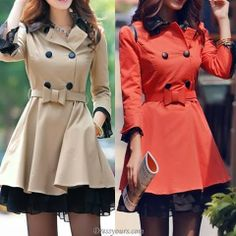 Gorgeous Slim Double-Breasted OL Style Long Trench Coat for Ladies