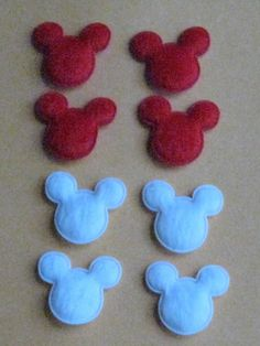 Felt Mouse Heads, (use as Mickey/Minnie tic-tac-toe game pieces, though I think pink heads with bows are in order for Minnie)