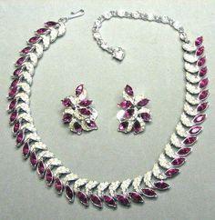 Kramer Cranberry Crescent Rhinestone Necklace Set | eBay