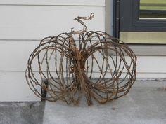 Barbed wire pumpkin fall decor