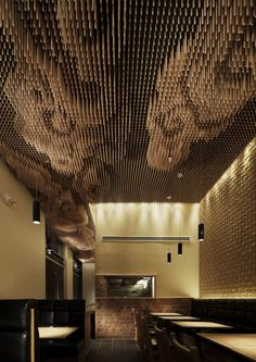 Ceiling made up of thousands of wooden sticks in the Tsujita restaurant, LA.