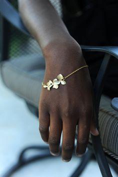 Delicate Orchid Gold Bracelet via Etsy.