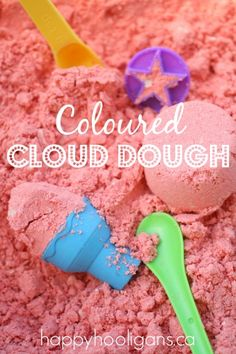 Coloured Cloud Dough - How to Colour Cloud Dough for Sensory Play - Happy Hooligans