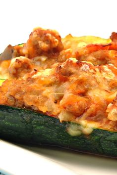 Stuffed Zucchini with Sausage & Cheese #Recipe