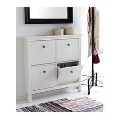 HEMNES Shoe cabinet with 4 comparment - white, 42 1/8x39 3/4  - IKEA