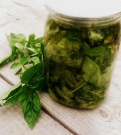 Easily preserve basil in olive oil!