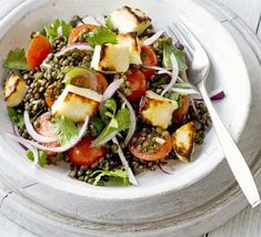 Warm Puy lentil, cherry tomato & halloumi salad