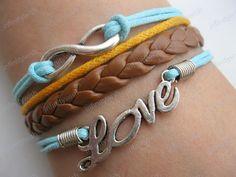 BraceletTure love will go on braceletsilver love by infinitywish. $7.99 USD, via Etsy.