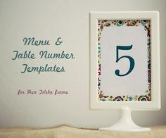 Wedding Menu/Table Number Template