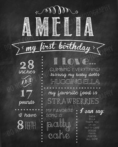 First Birthday Chalkboard Digital Poster Printable by nic073, $20.00