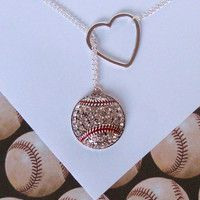 Baseball Lariat Necklace with Rhinestones and Heart, handmade jewelry http://www.premierplayers.com/