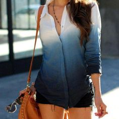 DIY ombre shirt just dip into a light colored dye, then dip it into a darker dye a little ways down and do it again with a darker one