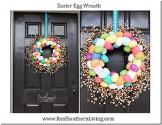 Plastic Easter Egg Wreath   www.realsouthernliving.com