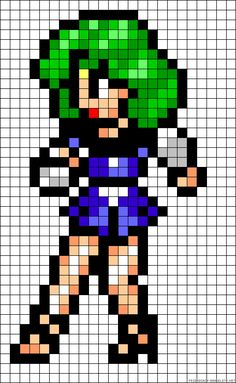 Sailor Neptune perler bead pattern... Could be used for Rainbow Loom