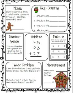 2nd Grade Christmas Math Freebie--click on preview for your free copy of sample  math and ELA pages--great morning work--counting money, skip counting, number sense, word problems, measurement, and so much more