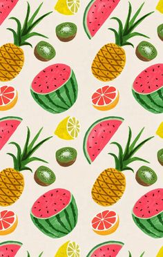 Fruit pattern: Watermelon, Pineapple, Grapefruit, Kiwi.