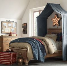 Classic Vintage-Washed Patchwork Canvas Tent Canopy,