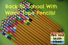 back to school washi tape wrapped pencils Pink and Green Mama