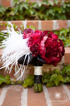 Deep Red and Black Bouquet with Feather Accent