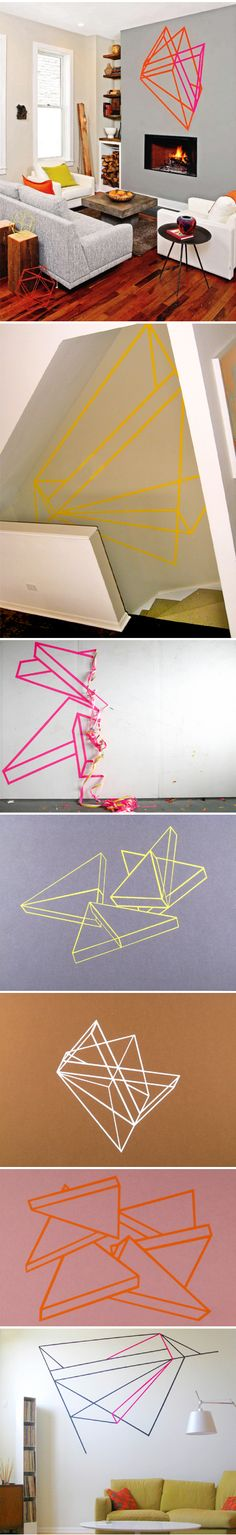 Alex Menocal, tape installations wall art, tape instal, geometric shapes, tape art, wall decorations, tapes, mask tape, alex o'loughlin, masking tape