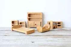 Collection of Modern Creative Playthings Wooden Dollhouse Toys