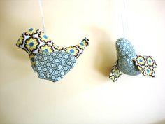 Fabric birds nursery playroom hanging bird by NancyEllenStudios, $28.00