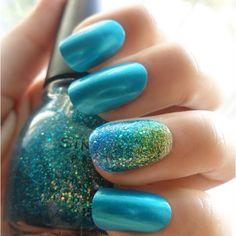 Love love love nail trends, nail polish, color, nail designs, blue green, nail arts, glitter nails, short nails, blue nails