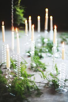 natural centerpieces - photo by EE Photography - http://ruffledblog.com/rock-and-roll-chic-wedding-ideas/