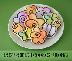 Easy Painted Flower Cookies tutori, klickitat street, flower cookies, cooki decor, painted flowers, easi paint, paint cooki, paint flower, decor cooki