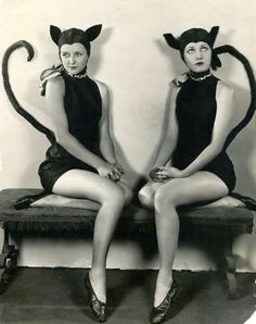vintage halloween, halloween costume ideas, halloween costumes, black cats, kitty kat, black white, cat costumes, dressing up, cat lady