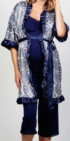 Maternity PJ's - Blueberry Torte Robe & Maternity Pajamas by Cake Lingerie