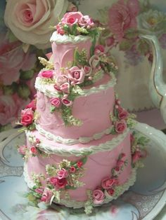 pink roses, tea parti, beauti cake, faux cakes, shabby chic, shabbi chic, shabbi cottag, rose cake, fake cake