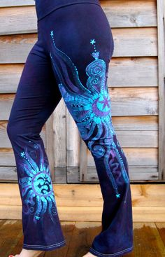Batik Yoga Pants in Deep Blue and Purple