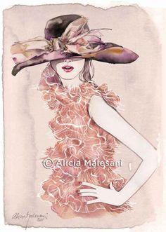 DIOR dress and hat #fashion #illustration |  Alicia Malesani