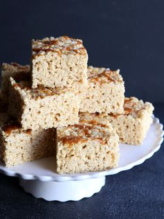 Brown Butter Salted Caramel Rice Krispie Treats from completelydelicious.com