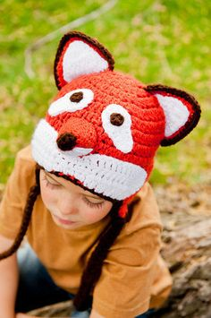 Fox Hat Crochet Pattern in 5 sizes, Fits all, newborn to adult