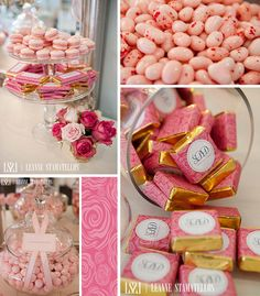 food choices, birthday, chocolates, candi, pink gold, parti idea, gold sweet, bridal showers, pink parties