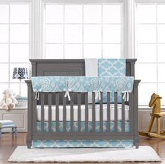The sky blue trellis bumperless set is a brand new collection by Liz and Roo Fine Baby bedding!