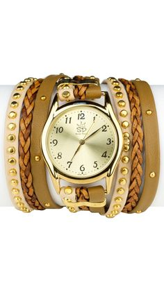 by Sara Designs  Studded Leather Wrap Watch - Large - Tan