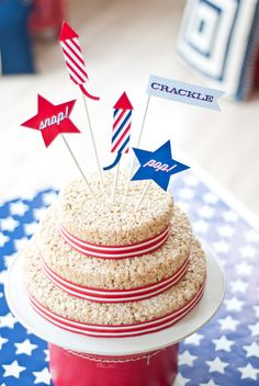 Classic All-American Fourth of July Party-Rice Krispie cake
