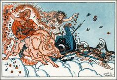 Frey, god of sunshine, on his golden boar whose bristles symbolize the sunbeams, and Freya, his sister, in her chariot drawn by cats. Illustration by Donn P. Crane