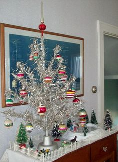 Vintage Christmas Ornaments ~ Pretty Aluminum Tabletop Tree with Shiny Brite Ornaments