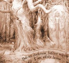 """Prayer for Woodland Travellers,"""" by Ari Berk. Art by Alan Lee.        Lasting light upon the track at dusk,  No forest as deep as a single day,  All the wolves have fled;  Before darkness, before winter,  I am safely home."""