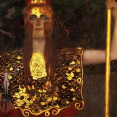 .  Pallas Athene  is the goddess of wisdom, courage, inspiration, civilization, law and justice, just warfare, mathematics, strength, strategy, the arts, crafts, and skill. Gustav Klimt Pallas Athena 1898